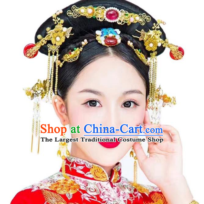 Top Grade Chinese Wedding Hair Accessories Ancient Bride Hairpins Complete Set for Women