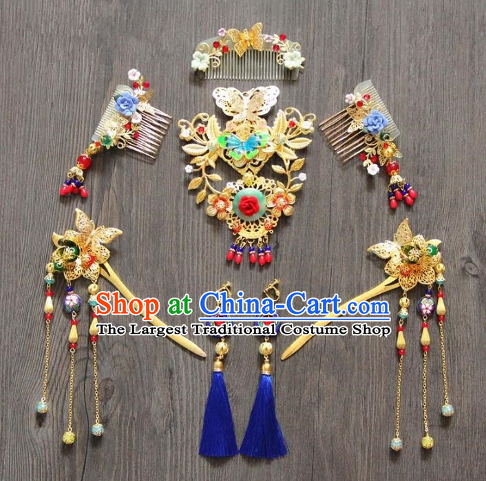 Top Grade Chinese Wedding Hair Accessories Ancient Bride Tassel Hairpins Hair Combs Complete Set for Women