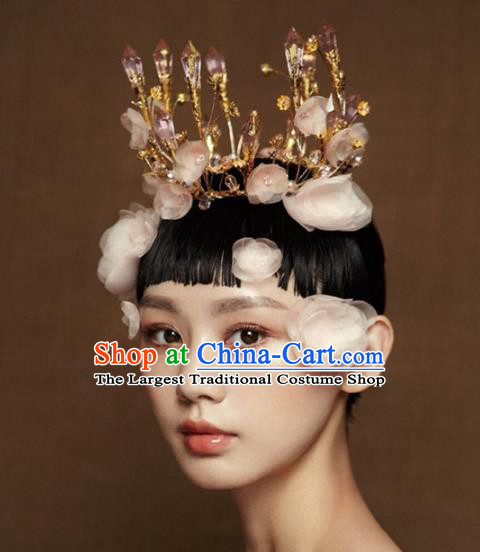 Top Grade Baroque Queen Crystal Round Royal Crown Wedding Bride Hair Accessories for Women
