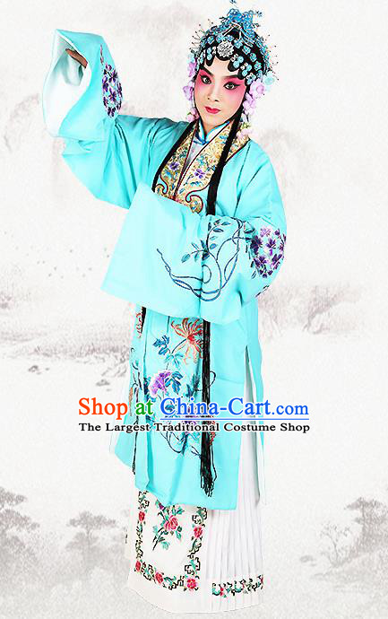 Professional Chinese Beijing Opera Costumes Ancient Peking Opera Actress Blue Clothing for Adults