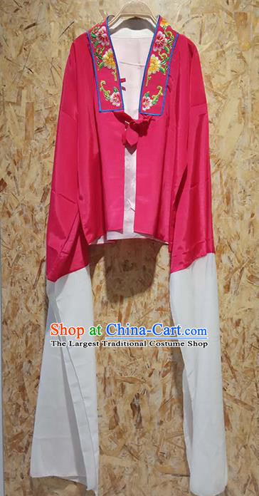 Professional Chinese Beijing Opera Costumes Ancient Peking Opera Actress Embroidered Water Sleeve Rosy Blouse for Adults