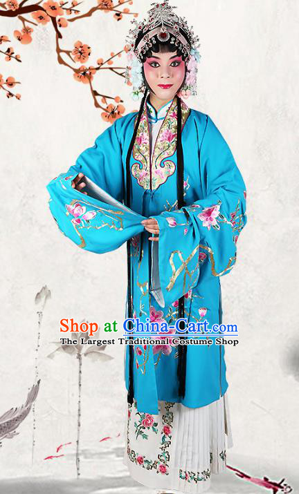 Professional Chinese Beijing Opera Costumes Ancient Huangmei Opera Actress Embroidered Blue Clothing for Adults