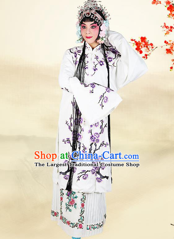 Professional Chinese Beijing Opera Costumes Ancient Huangmei Opera Actress Embroidered White Clothing for Adults