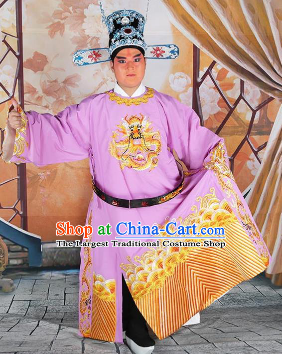 Professional Chinese Beijing Opera Costumes Peking Opera Minister Purple Gwanbok Robe and Hat for Adults