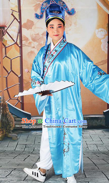 Professional Chinese Beijing Opera Costumes Peking Opera Gifted Scholar Blue Robe and Hat for Adults