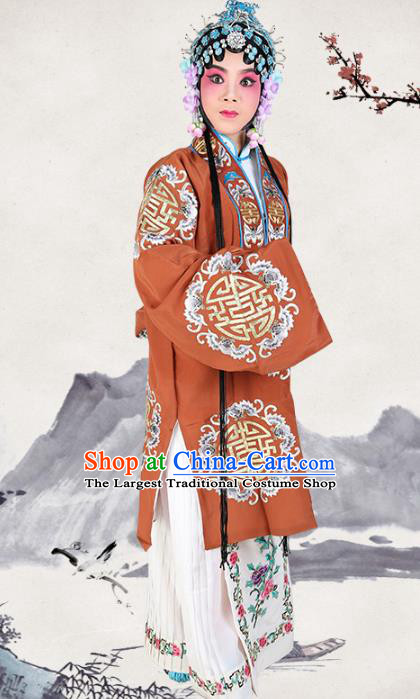 Professional Chinese Traditional Beijing Opera Pantaloon Embroidered Plum Blossom Orange Costumes for Adults