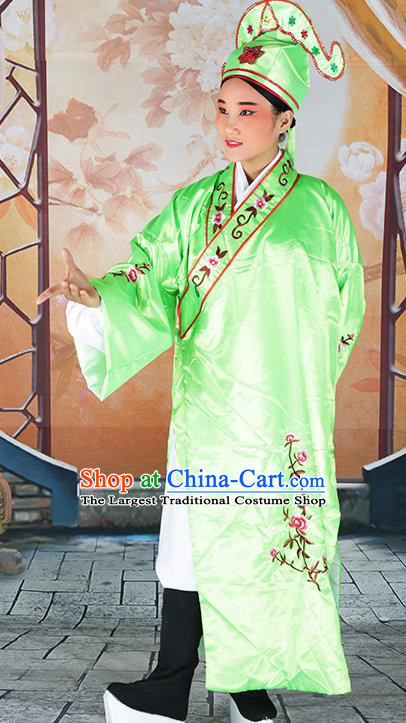Professional Chinese Beijing Opera Costumes Peking Opera Gifted Scholar Green Robe and Hat for Adults