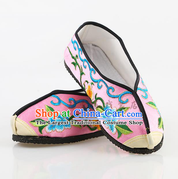 Chinese Traditional Beijing Opera Embroidered Shoes Peking Opera Diva Pink Cloth Shoes for Women