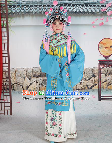 Professional Chinese Beijing Opera Diva Embroidered Costumes Green Shawl Clothing and Headwear for Adults