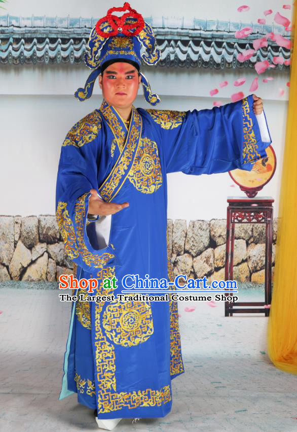 Professional Chinese Peking Opera Niche Costume Scholar Blue Robe and Hat for Adults