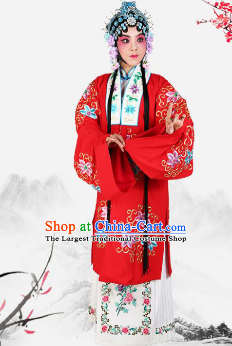 Professional Chinese Traditional Beijing Opera Diva Embroidered Red Costumes for Adults