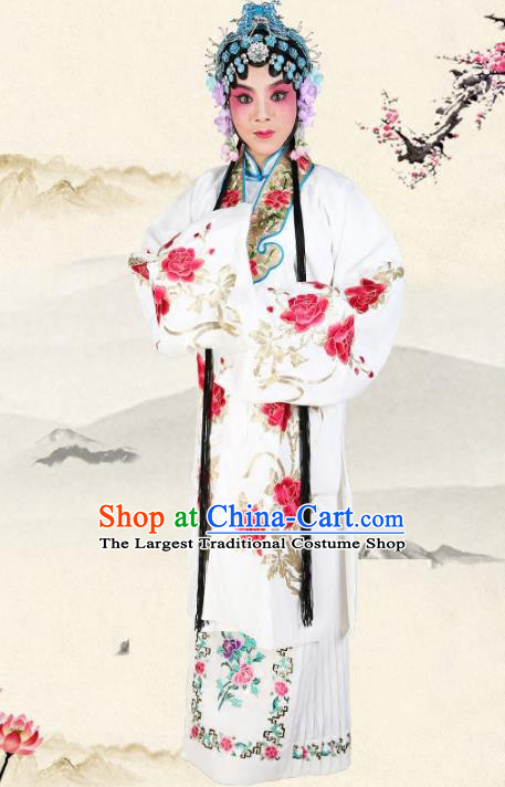 Professional Chinese Traditional Beijing Opera Diva Embroidered Peony White Costumes for Adults