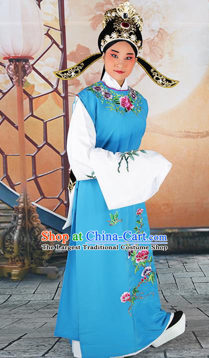 Professional Chinese Peking Opera Niche Costume Huangmei Opera Jia Baoyu Blue Robe and Hat for Adults
