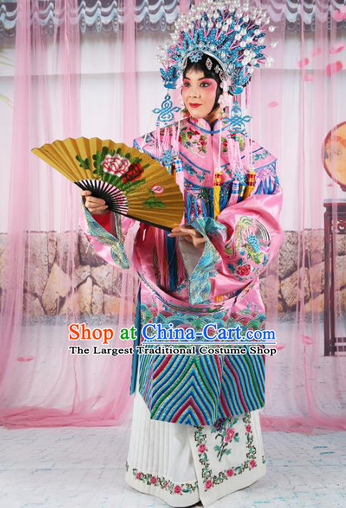 Professional Chinese Beijing Opera Diva Embroidered Costumes Imperial Consort Pink Dress and Phoenix Coronet for Adults