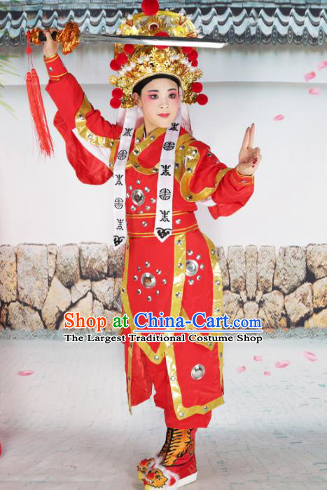 Professional Chinese Peking Opera Swordplay Costume Huangmei Opera Hua Mulan Robe and Hat for Adults