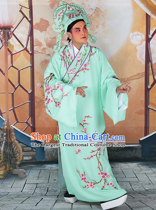 Professional Chinese Peking Opera Niche Costume Traditional Peking Opera Plum Blossom Green Robe and Hat for Adults