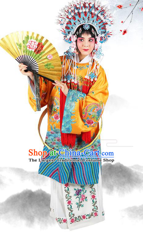Professional Chinese Beijing Opera Imperial Concubine Embroidered Costumes and Headwear for Adults