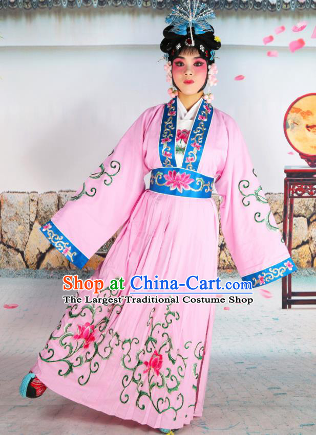 Professional Chinese Beijing Opera Actress Young Women Costumes Embroidered Pink Dress for Adults