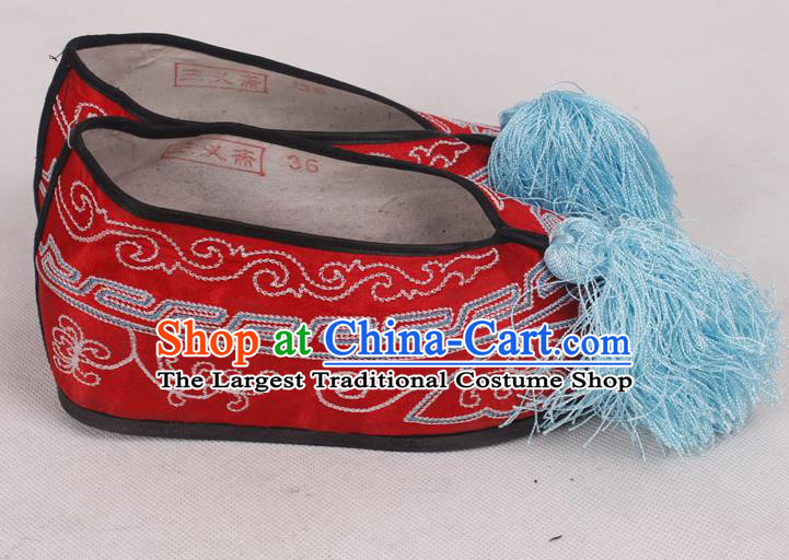 Chinese Traditional Beijing Opera Diva Embroidered Shoes Peking Opera Red Cloth Shoes for Women
