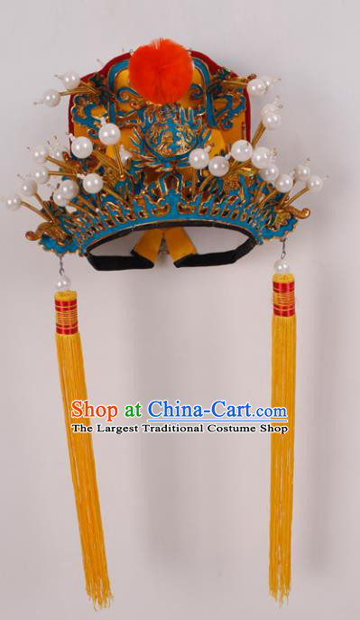 Top Grade Chinese Beijing Opera Emperor Headwear Peking Opera General Hat for Men