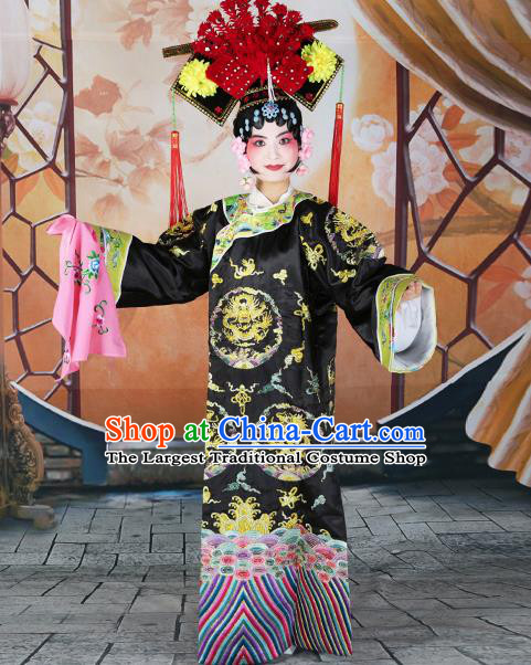 Professional Chinese Beijing Opera Qing Dynasty Empress Embroidered Black Costumes and Headwear for Adults