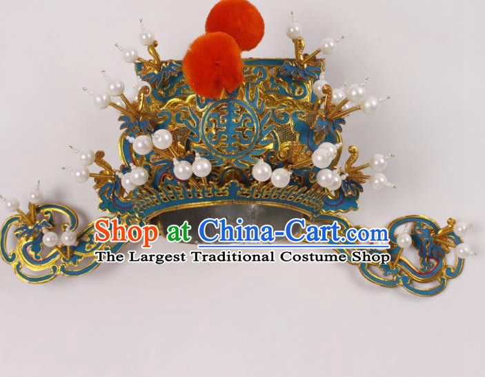 Top Grade Chinese Beijing Opera Prime Minister Headwear Peking Opera General Hat for Men