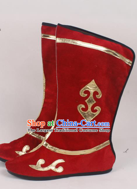 Chinese Traditional Beijing Opera Red Boots Peking Opera Shoes for Men
