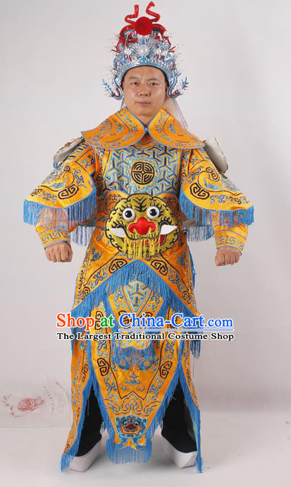 Professional Chinese Peking Opera General Yellow Embroidered Costume Beijing Opera Takefu Clothing and Hat for Adults