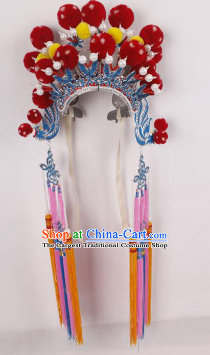 Top Grade Chinese Beijing Opera Female General Headwear Peking Opera Blues Hat for Women