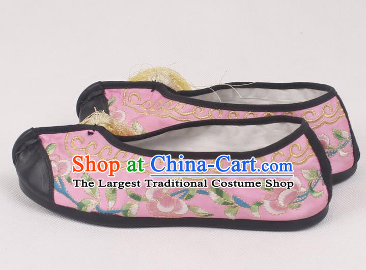 Chinese Traditional Beijing Opera Hanfu Pink Embroidered Shoes Peking Opera Diva Blood Stained Shoes for Women