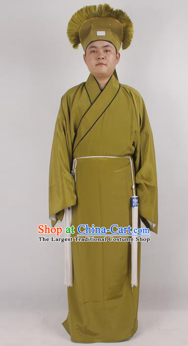 Professional Chinese Peking Opera Niche Costume Beijing Opera Scholar Green Robe and Hat for Adults