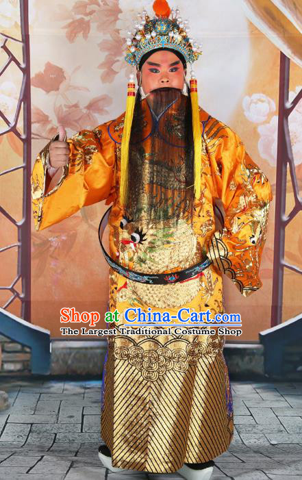 Professional Chinese Peking Opera Yellow Embroidered Robe Prime Minister Costumes and Hat for Adults