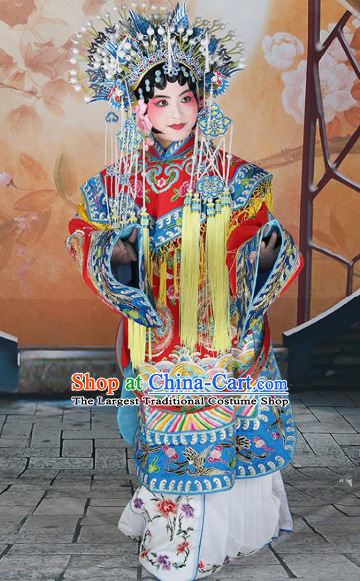 Professional Chinese Beijing Opera Actress Embroidered Costumes and Headwear for Adults