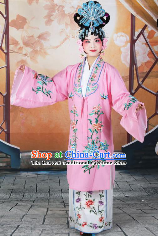 Professional Chinese Beijing Opera Actress Embroidered Peony Pink Costumes for Adults