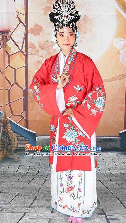 Professional Chinese Beijing Opera Actress Embroidered Peony Red Costumes for Adults