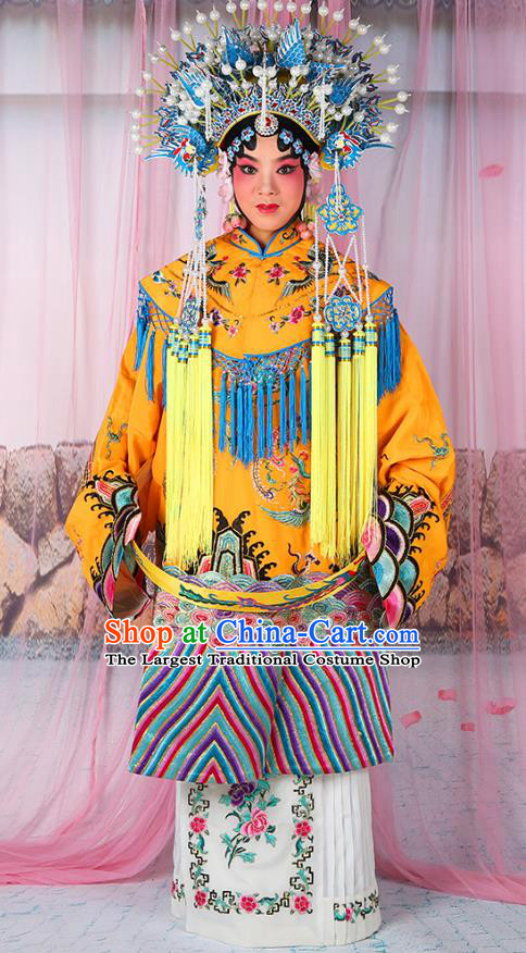 Professional Chinese Beijing Opera Diva Imperial Consort Embroidered Yellow Costumes and Phoenix Coronet for Adults