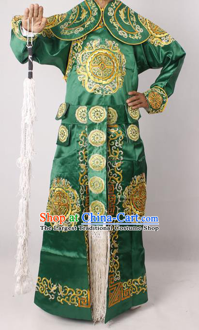 Professional Chinese Peking Opera Takefu Embroidered Green Costume for Adults