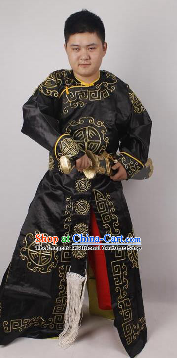 Professional Chinese Peking Opera Takefu Black Embroidered Costume for Adults