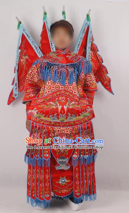 Professional Chinese Peking Opera Female General Mu Guiying Embroidered Red Costumes for Adults