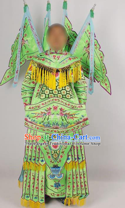 Professional Chinese Peking Opera Female General Mu Guiying Embroidered Green Costumes for Adults