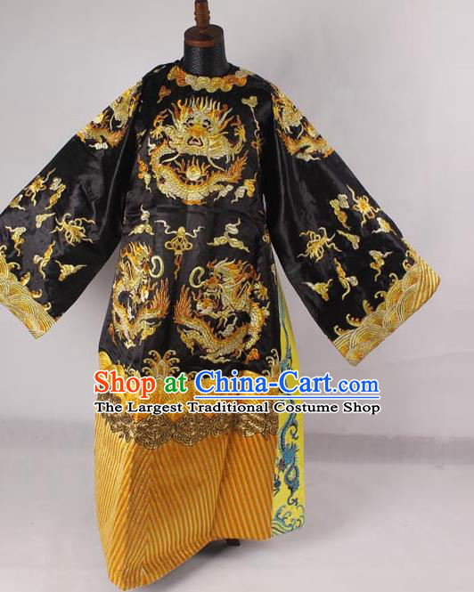 Professional Chinese Peking Opera Old Men Costume Prime Minister Black Embroidered Robe for Adults
