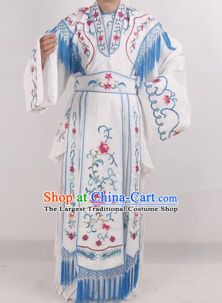 Professional Chinese Peking Opera Diva Costumes Ancient Fairy Embroidered White Dress for Adults