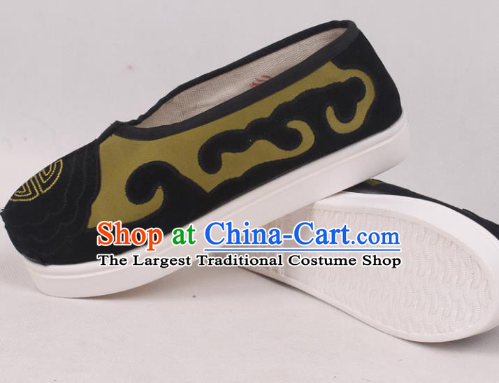 Chinese Traditional Beijing Opera Ministry Councillor Embroidered Shoes Peking Opera Green Shoes for Men