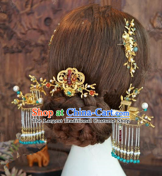 Chinese Handmade Ancient Wedding Hair Accessories Tassel Hairpins Complete Set for Women