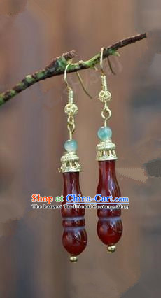 Chinese Handmade Red Agate Earrings Ancient Bride Ear Jewelry Accessories for Women