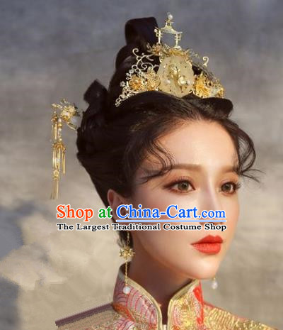 Chinese Handmade Ancient Wedding Hair Accessories Jade Phoenix Coronet Hairpins Complete Set for Women