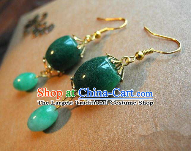 Chinese Handmade Green Earrings Ancient Bride Ear Jewelry Accessories for Women