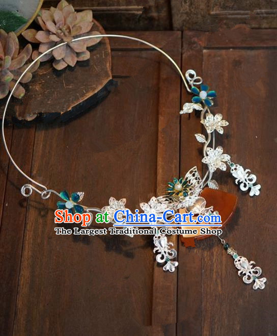 Chinese Handmade Flowers Necklace Ancient Bride Hanfu Necklet Jewelry Accessories for Women