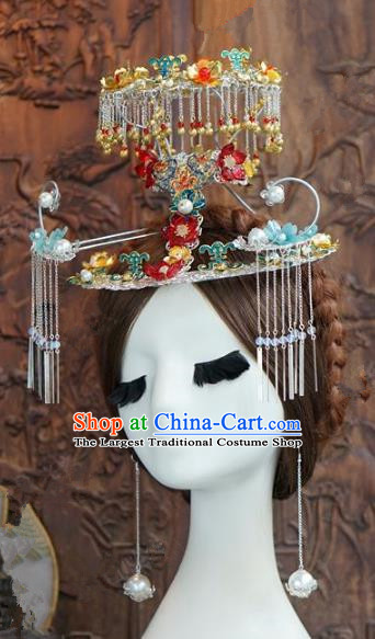 Chinese Handmade Wedding Hair Accessories Ancient Bride Phoenix Coronet Hairpins Complete Set for Women