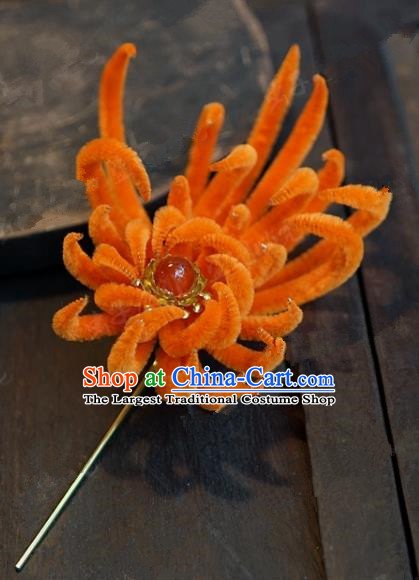 Chinese Handmade Ancient Hair Accessories Qing Dynasty Princess Orange Velvet Chrysanthemum Hairpins for Women